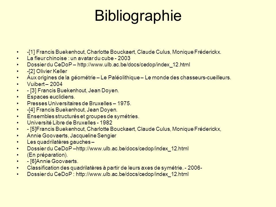Bibliographie -[1] Francis Buekenhout, Charlotte Bouckaert, Claude Culus, Monique Fréderickx. La fleur chinoise : un avatar du cube - 2003.